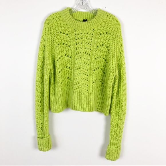 10f6a498cc364d Topshop Neon Green Chunky Cable Knit Sweater 8